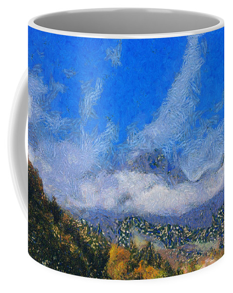 Mountain Peak Coffee Mug featuring the photograph High Winds And Clouds by Ashish Agarwal