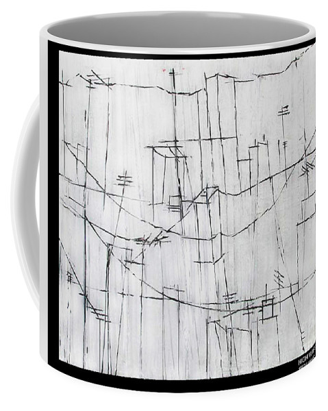 Rooftops Coffee Mug featuring the painting High Wires by Pamela Canzano