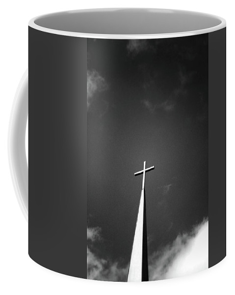 Church Coffee Mug featuring the photograph Higher To Heaven - Black And White Photography By Linda Woods by Linda Woods