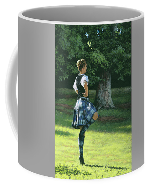 Scottish Coffee Mug featuring the drawing Highland Dancer by Tommy Hunt
