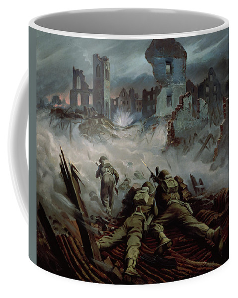 Stormont Coffee Mug featuring the painting Highlanders Advancing To Caen by Orville Norman Fisher