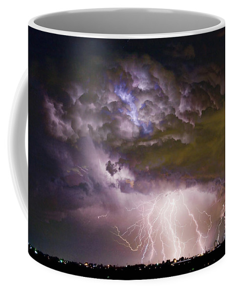 Colorado Lightning Coffee Mug featuring the photograph Highway 52 Storm Cell - Two And Half Minutes Lightning Strikes by James BO Insogna