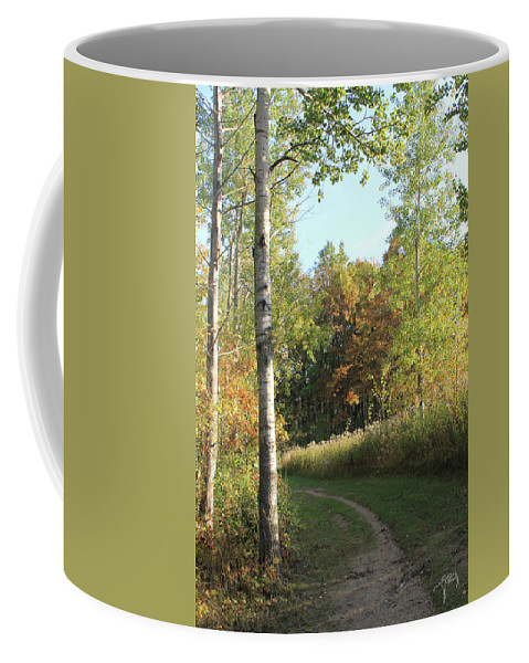 Trail Coffee Mug featuring the photograph Hiking Trail In Autumn Sunset by Catalina Diaz