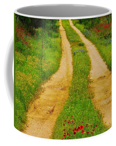 Texas Coffee Mug featuring the photograph Hill Country Backroad by Dennis Nelson