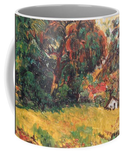 Tree Coffee Mug featuring the painting On the Hill by Meihua Lu