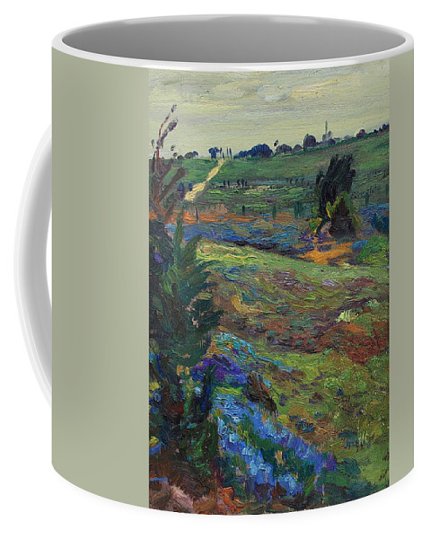 Blue Bonnets Coffee Mug featuring the painting Hills Of Joy by Maris Salmins