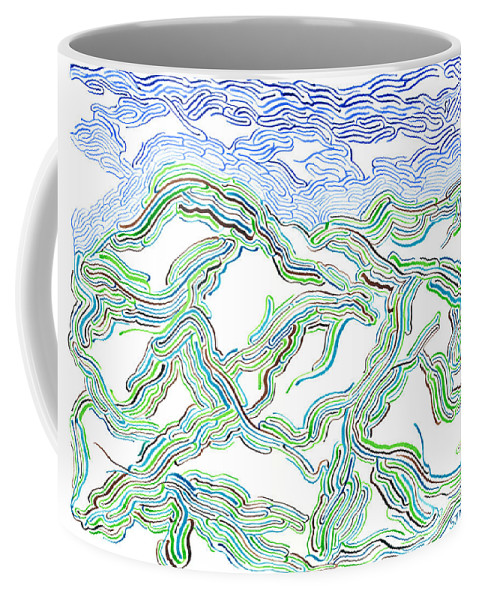 Mazes Coffee Mug featuring the drawing Hills by Steven Natanson