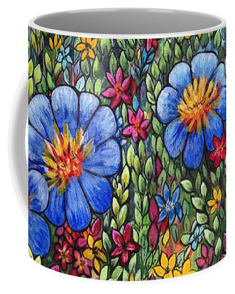 Blue Flowers Coffee Mug featuring the painting Hillside Blues by Holly Carmichael