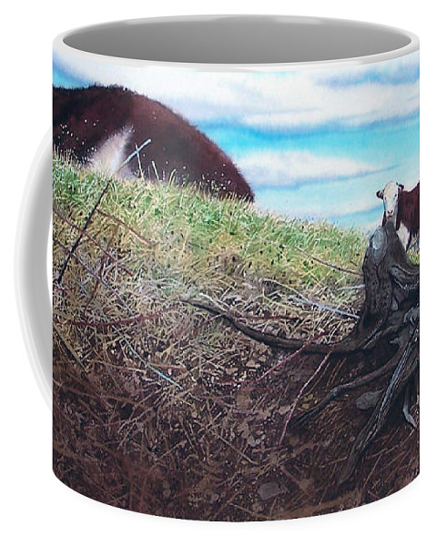 Steers Coffee Mug featuring the painting Hillside Retreat by Denny Bond