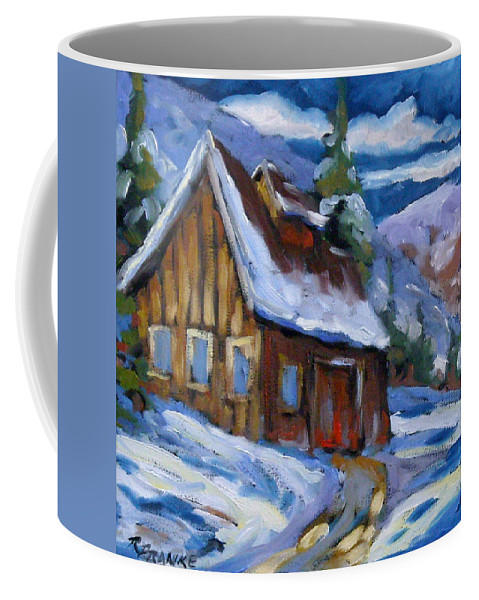 Art Coffee Mug featuring the painting Hillsidebarn In Winter by Richard T Pranke