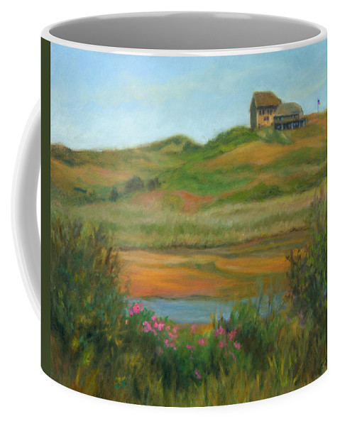 Landscape Coffee Mug featuring the painting Hilltop Houses Cape Cod by Phyllis Tarlow