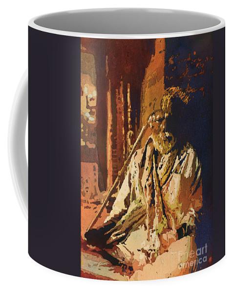 Nepal Coffee Mug featuring the painting Hindu Holy Man- Nepal by Ryan Fox