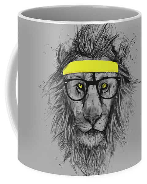 Lion Coffee Mug featuring the drawing Hipster lion by Balazs Solti
