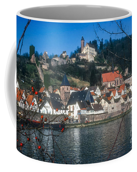 Hirschhorn Germany Castle Castles Village Villages City Cities Cityscape Cityscapes Landscape Landscapes Neckar River Rivers Water Berry Berries Building Buildings House Houses Structure Structures Architecture Coffee Mug featuring the photograph Hirschhorn Village On The Neckar by Bob Phillips