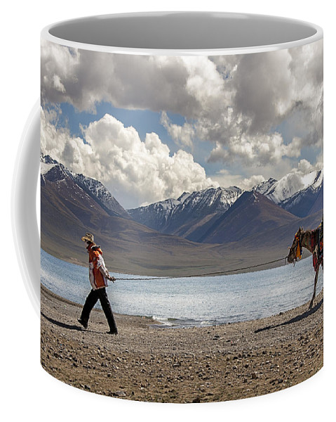 Horse Coffee Mug featuring the photograph His Horse, Tibet, 2007 by Hitendra SINKAR