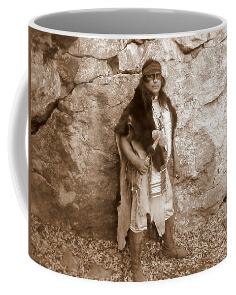 Indian Scout Warclub Apache Sepia Rocks Coffee Mug featuring the photograph His Warclub II by Cindy New