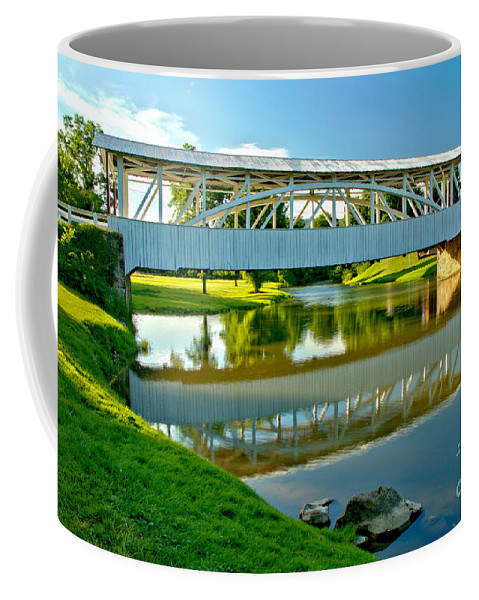 Halls Mill Covered Bridge Coffee Mug featuring the photograph Historic Halls Mill Bridge Reflections by Adam Jewell