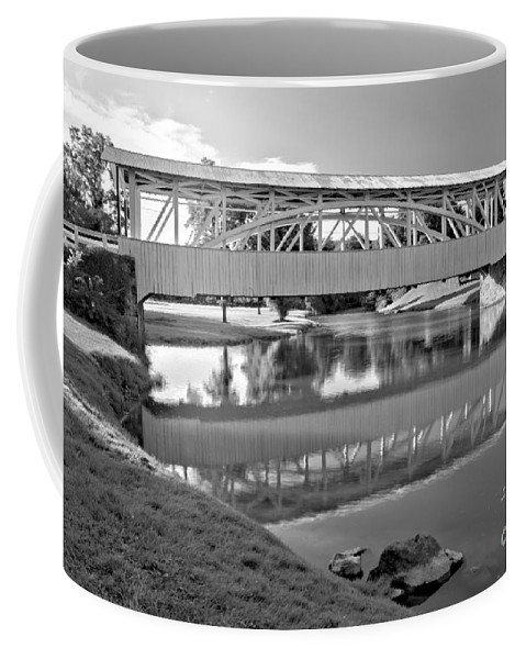 Halls Mill Covered Bridge Coffee Mug featuring the photograph Historic Halls Mill Bridge Reflections Black And White by Adam Jewell