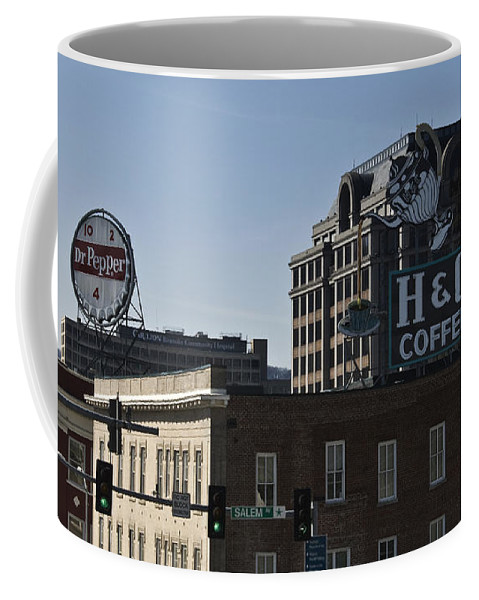 Roanoke Coffee Mug featuring the photograph Historic Landmark Signs Roanoke Virginia by Teresa Mucha