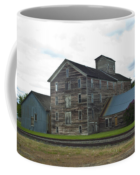 Historical Coffee Mug featuring the photograph Historical Barron Wheat Flour Mill In Oakesdale Wa by Louise Magno