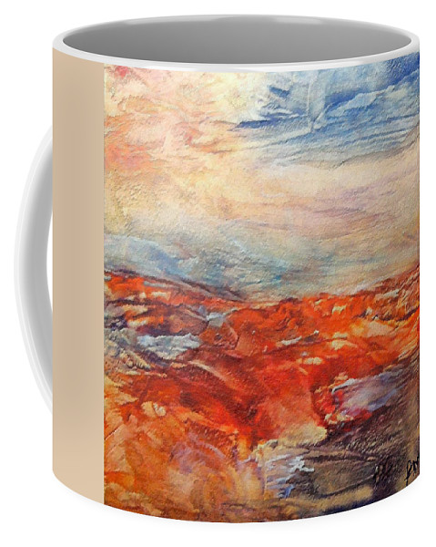 Abstract Landscape Coffee Mug featuring the painting Histria by Dragica Micki Fortuna