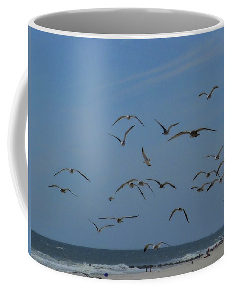Birds Coffee Mug featuring the photograph Hitchcock Comes To Long Beach, New York by Cheryl Kurman