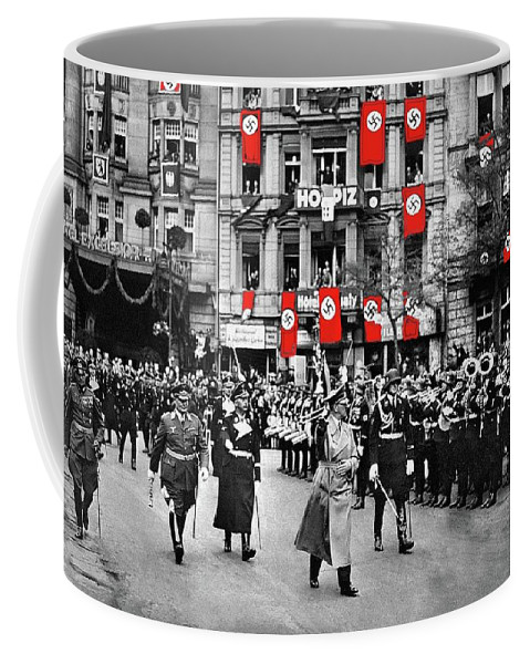 Hitler With Goering And Himmler Marching In Munich Germany C.1934 Coffee Mug featuring the photograph Hitler With Goering And Himmler Marching In Munich Germany C.1934-2016 by David Lee Guss