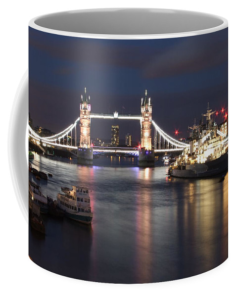 Hms Belfast Coffee Mug featuring the photograph Hms Belfast And Tower Bridge by Andrew Ford