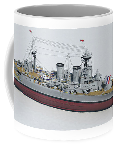 Hms Hood Coffee Mug featuring the digital art Hms Hood 1937 - Bow To Stern Tech by Christopher Snook