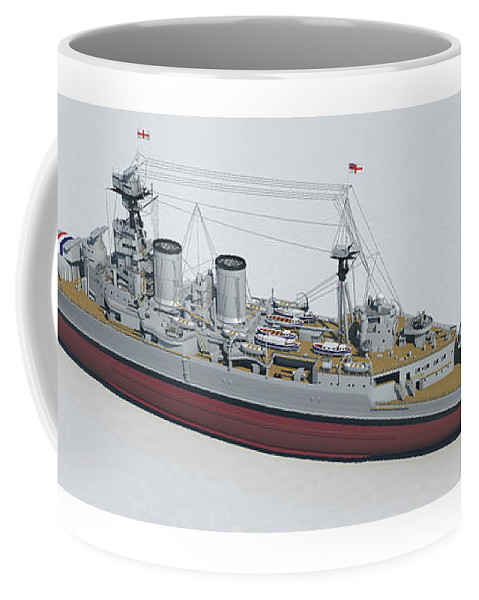 Hms Hood Coffee Mug featuring the digital art Hms Hood 1937 - Stern To Bow Tech by Christopher Snook