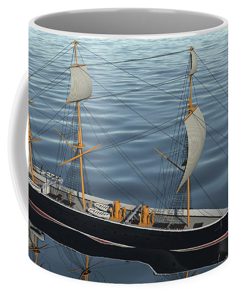 Hms Warrior Coffee Mug featuring the digital art Hms Warrior 1860 - Bow To Stern Ocean by Christopher Snook