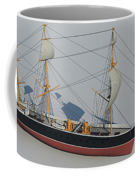 Hms Warrior Coffee Mug featuring the digital art Hms Warrior 1860 - Bow To Stern Technical by Christopher Snook