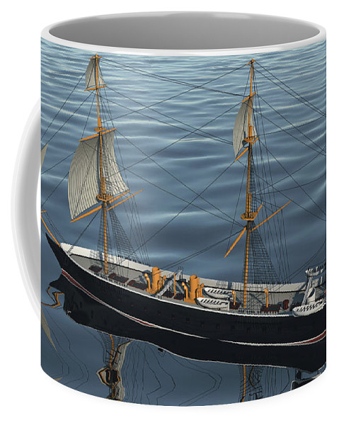 Hms Warrior Coffee Mug featuring the digital art Hms Warrior 1860 - Stern To Bow Ocean by Christopher Snook