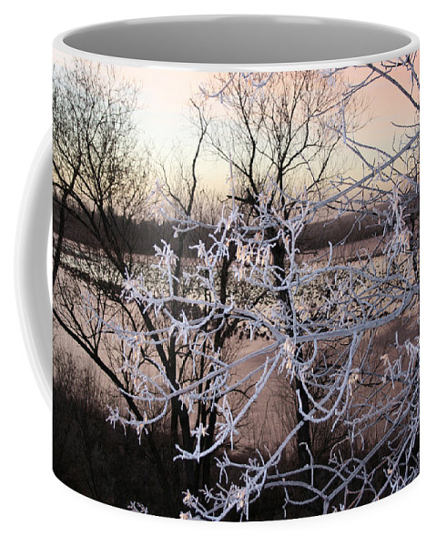 Hoar Frost Trees Lake Water Autumn Winter Ice White Cold Coffee Mug featuring the photograph Hoar Frost by Andrea Lawrence
