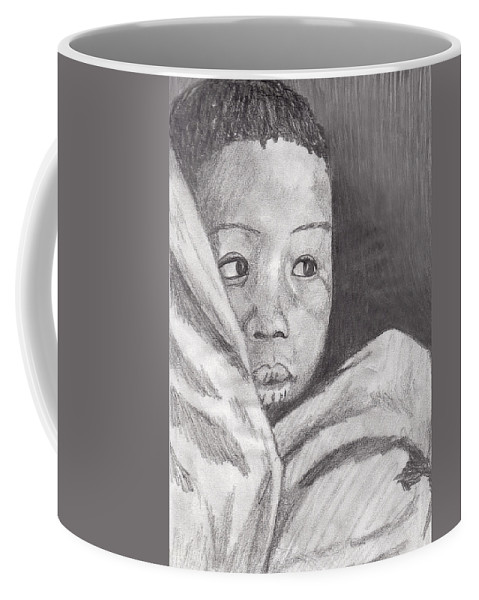 Child Coffee Mug featuring the drawing Hold Me Mom by Jean Haynes