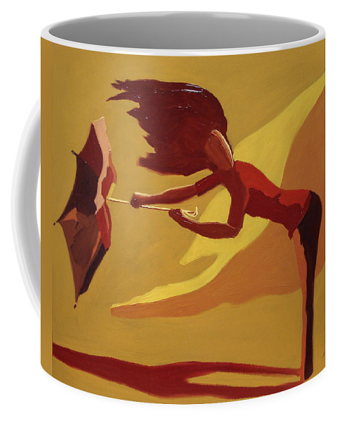 Woman Coffee Mug featuring the painting Hold On by Barbara Andolsek