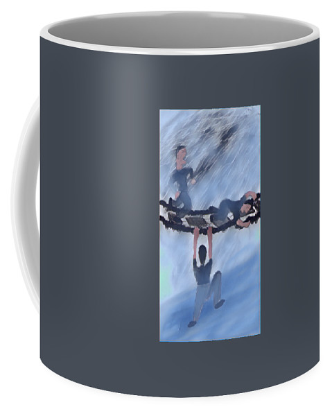 Walk Coffee Mug featuring the drawing Hold On Tight by Marcia Kaye Rogers