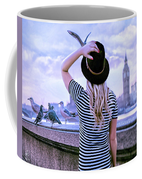 Girl Coffee Mug featuring the digital art Hold Onto Your Hat by Pennie McCracken