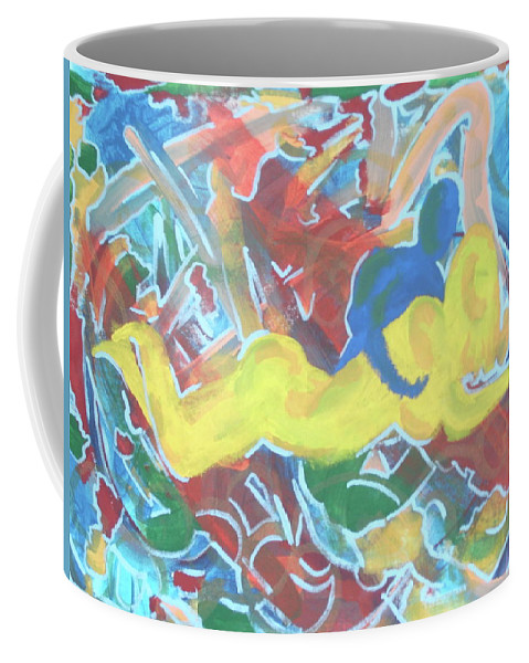 Lust Coffee Mug featuring the painting Hold U Down by JJ Burner