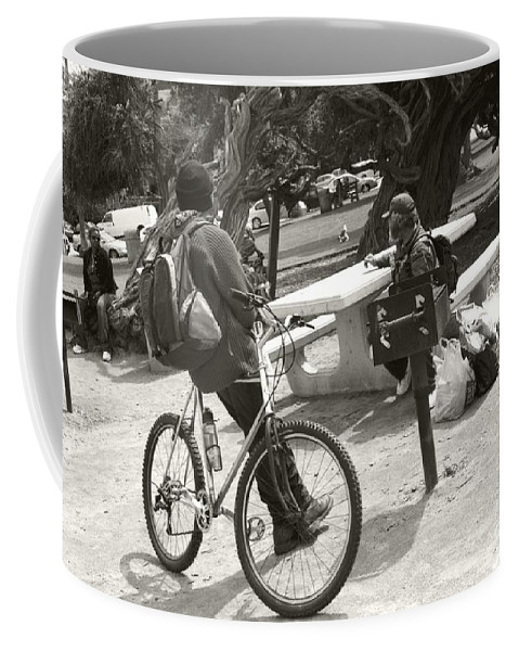 Homeless Coffee Mug featuring the photograph Holding Court by Heather Kirk