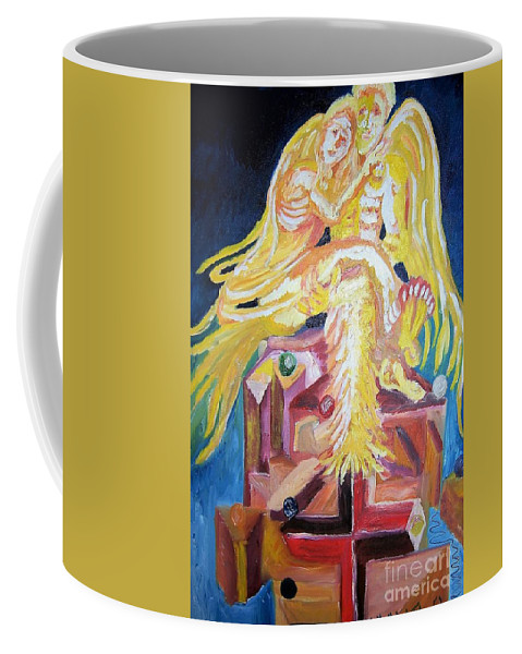 Abstract Coffee Mug featuring the painting Holding Her Up by Timothy Foley