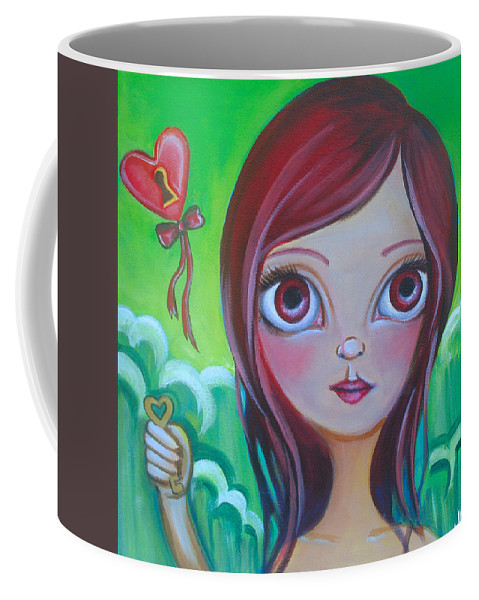 Pop Coffee Mug featuring the painting Holding The Key by Jaz Higgins