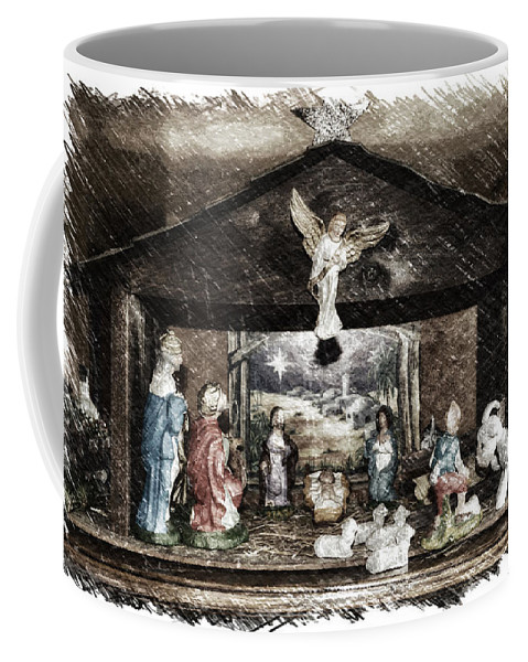 Xmas Coffee Mug featuring the photograph Holiday Christmas Manger Pa 01 by Thomas Woolworth