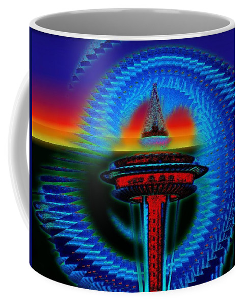 Seattle Coffee Mug featuring the digital art Holiday Needle Illusion by Tim Allen