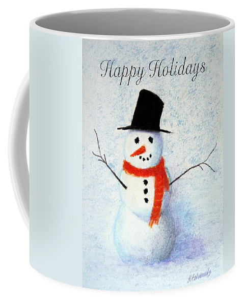 Christmas Coffee Mug featuring the pastel Holiday Snowman by Marna Edwards Flavell