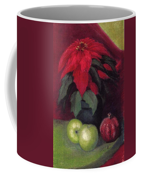 Poinsettia Pomegranite Fruit Holiday Christmas Coffee Mug featuring the pastel Holiday Treats by Pat Snook