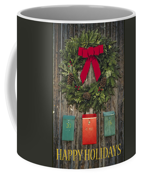 Mail Box Coffee Mug featuring the photograph Holiday Wreath by David Stone