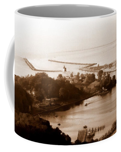 Holland Coffee Mug featuring the photograph Holland Michigan Harbor Big Red Aerial Photo by Michelle Calkins