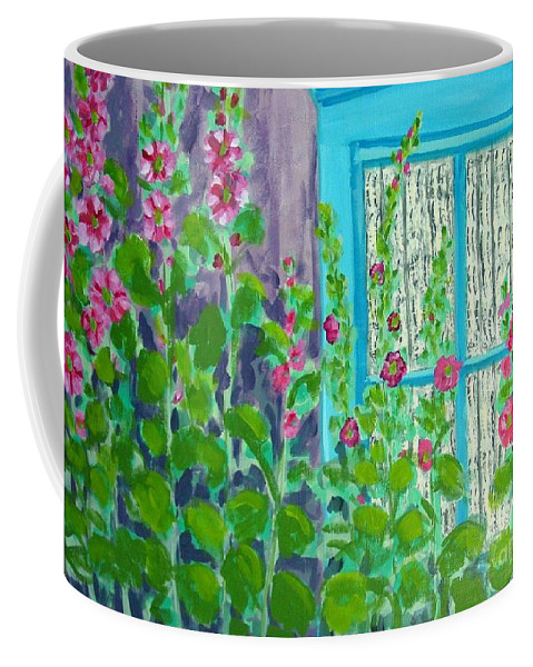 Hollyhocks Coffee Mug featuring the painting Hollyhock Surprise by Laurie Morgan