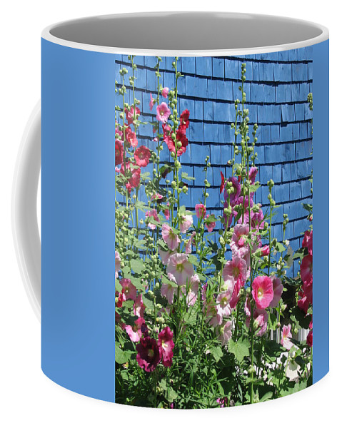 Flowers Coffee Mug featuring the photograph Hollyhocks by Mary Ellen Mueller Legault
